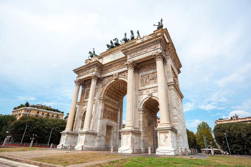 Arch of Peace, or Arco della Pace, city gate in the centre of the Old Town of Milan. Sempione park stock photography