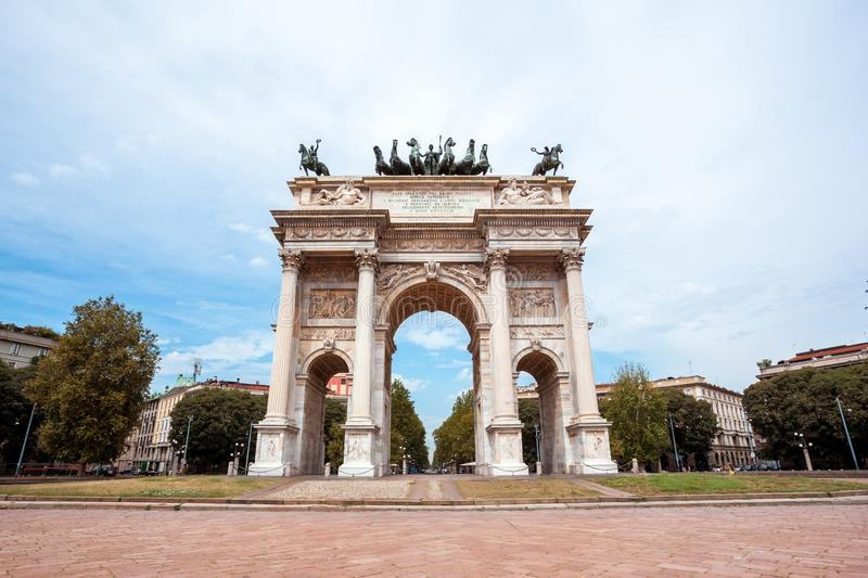 Arch of Peace, or Arco della Pace, city gate in the centre of the Old Town of Milan. Sempione park stock photo