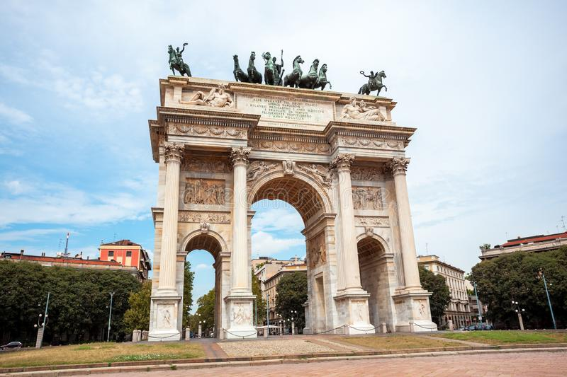Arch of Peace, or Arco della Pace, city gate in the centre of the Old Town of Milan. Sempione park stock photos