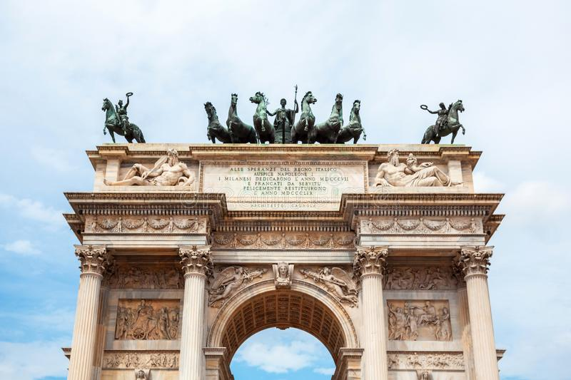 Arch of Peace, or Arco della Pace, city gate in the centre of the Old Town of Milan. Sempione park royalty free stock image