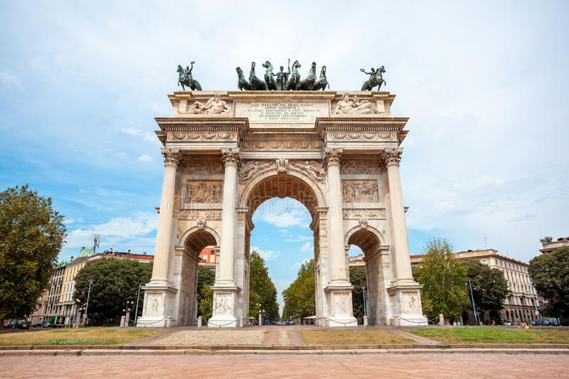 Arch of Peace, or Arco della Pace, city gate in the centre of the Old Town of Milan. Sempione park royalty free stock photo