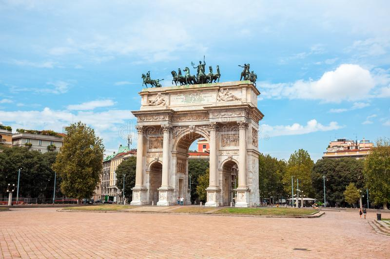 Arch of Peace, or Arco della Pace, city gate in the centre of the Old Town of Milan. Sempione park royalty free stock photography