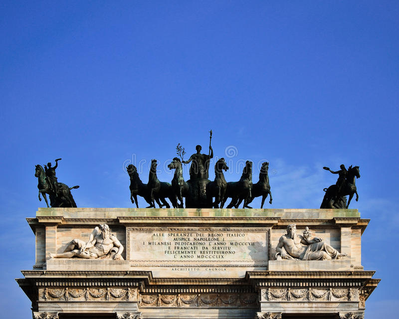 Arch of Peace in milan royalty free stock image