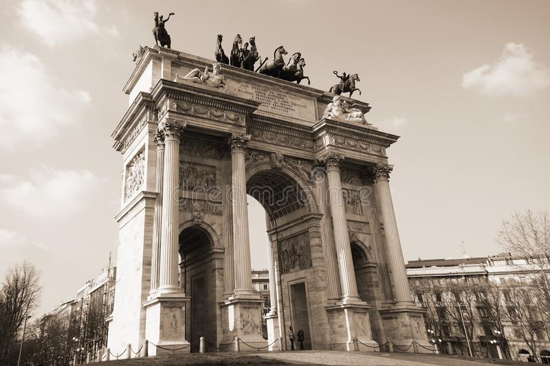 Arch of the peace, Milan, Italy. stock image