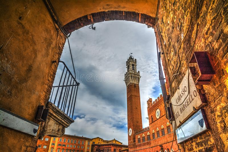 Arch in Piazza del Campo in Siena stock images