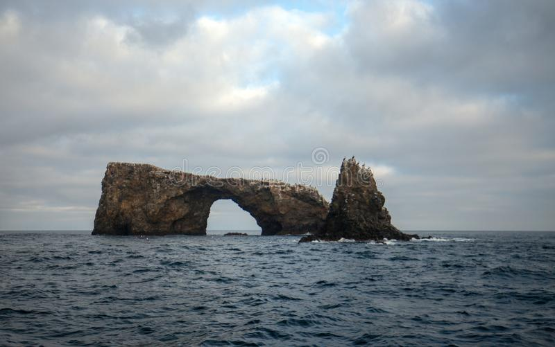 Arch Rock of Anacapa Island of the Channel Islands National Park off the gold coast of California United States.  stock photos