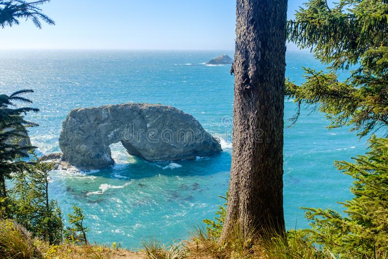 Arch Rock on the Pacific Coastline. View of the beautiful Arch Rock at the Oregon coastline, USA stock image