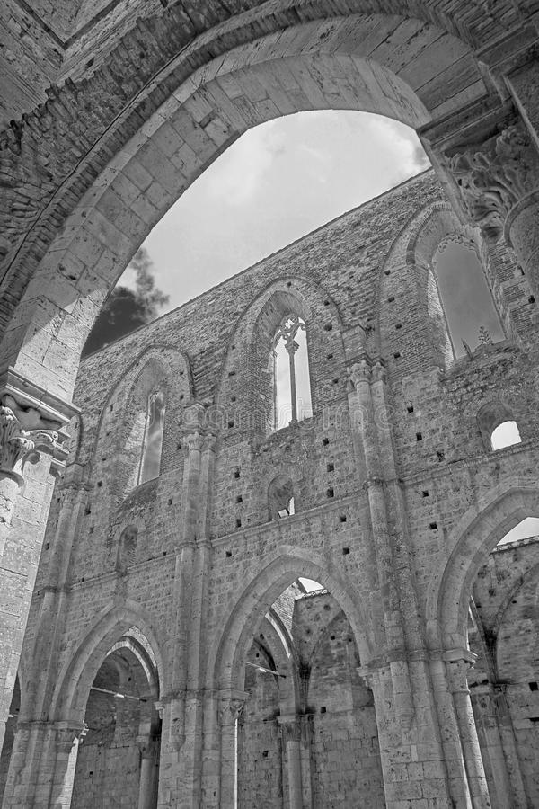 Arch ruins. Church arch ruins: ancient Abbey of San Galgano Monastery in Tuscany stock photo