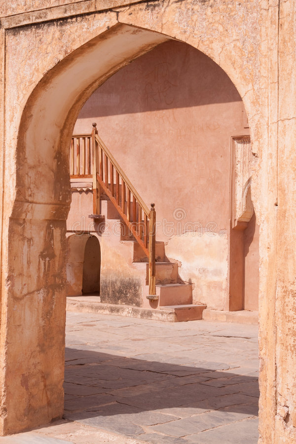 Arch and Stairway, Amber Fort, Jaipur, India stock images