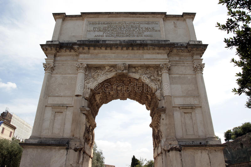 Arch of Titus, Rome. The Arch of Titus is a 1st-century honorific arch located on the Via Sacra, Rome, Italy, just to the south-east of the Roman Forum. It was royalty free stock photo