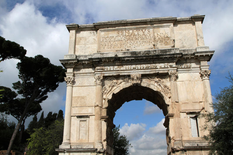 Arch of Titus. Was constructed in c. 82 AD by the Roman Emperor Domitian shortly after the death of his older brother Titus to commemorate Titus' victories stock images