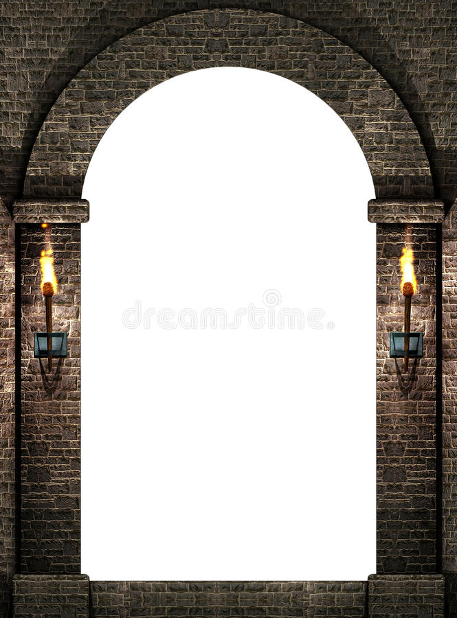 Arch With Torches Royalty Free Stock Photography