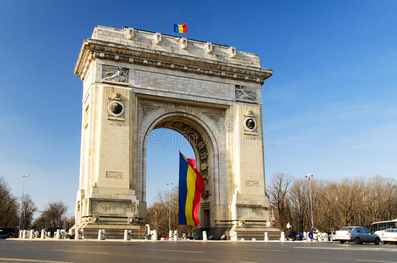 Arch Of Triumph. Arcul de Triumf is a triumphal arch located in the northern part of Bucharest, on the Kiseleff Road