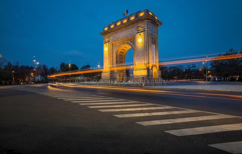 ARCH OF TRIUMPH. ARC DE TRIUMF Bucharest Romania, by night November 2018 stock images