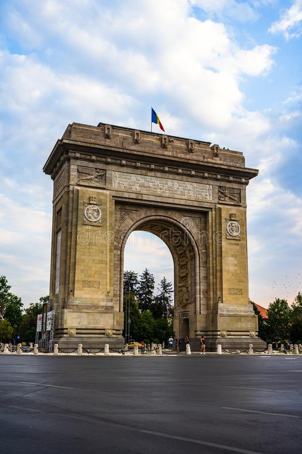 .Arch of triumph Arcul de Triumf in Bucharest, Romania, 2019. Arch of triumph Arcul de Triumf in Bucharest, Romania, 2019 royalty free stock photo