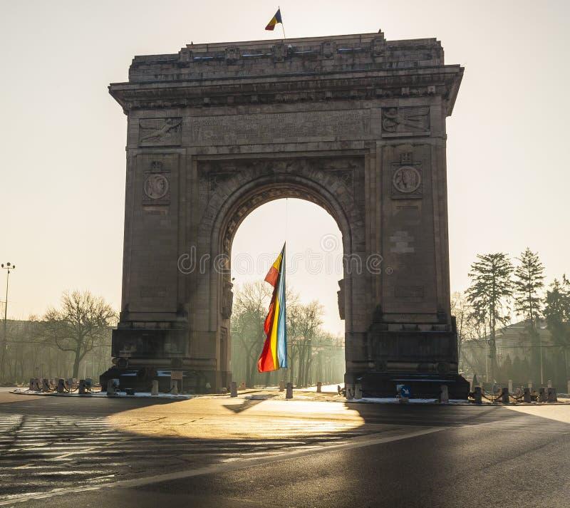 Arch of triumph. Triumph Arch, landmark in Bucharest, Romania stock photos