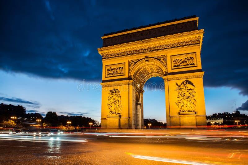 Arch of triumph, Paris. Arc de triomphe. Arch of triumph in Champs-Elysees, Paris, France. Night shoot long exposure stock photography