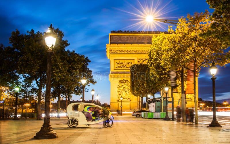 Arch of triumph, Paris. Arc de triomphe. Arch of triumph in Champs-Elysees, Paris, France. Night shoot long exposure royalty free stock photography