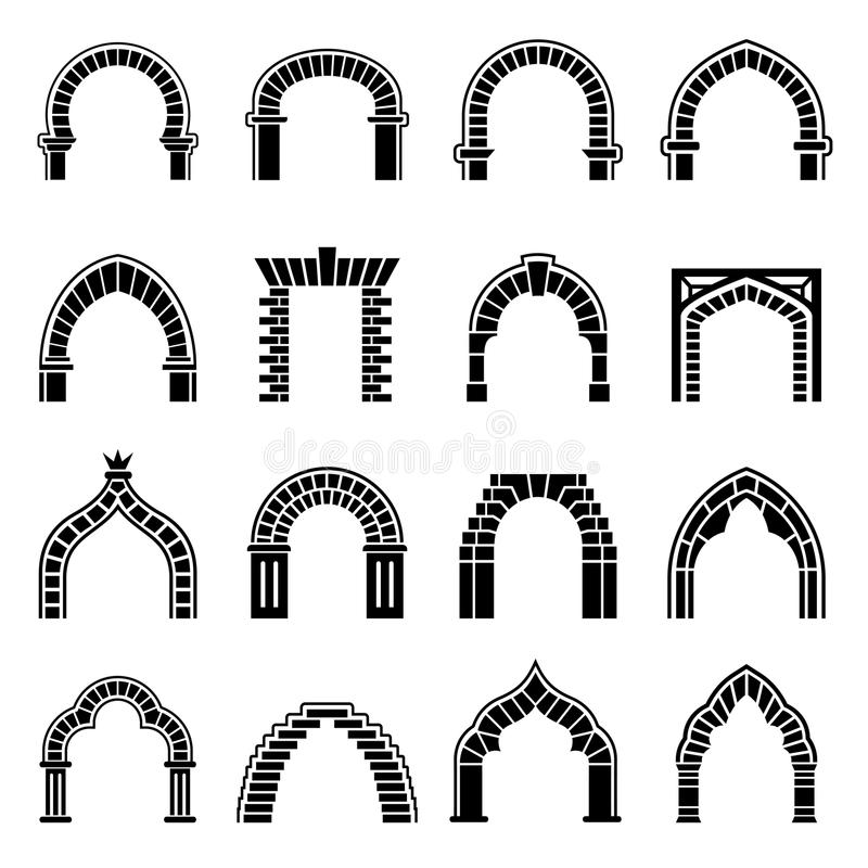 Download Arch Types Icons Set Simple Style Stock Vector