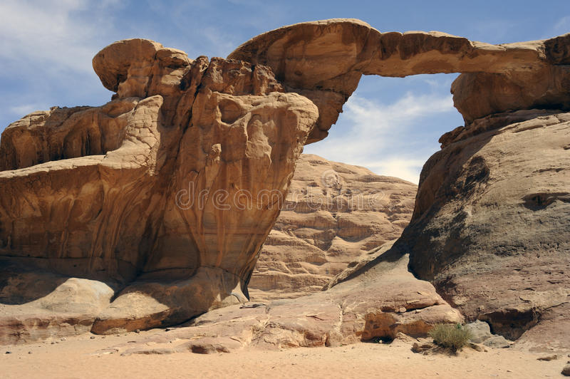 Arch in the Wadi Rum desert. Jordan royalty free stock photo