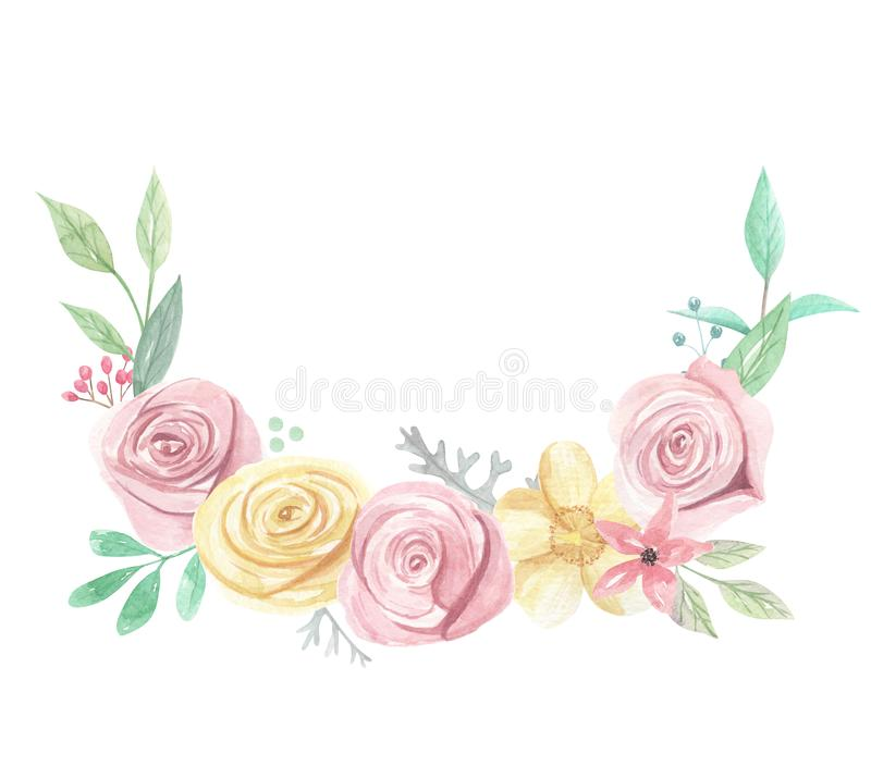 Arch Watercolor Pink Yellow Roses Berries Flowers Spring Summer Wedding Floral Bouquet. Watercolor pink and yellow roses and flowers - pastel colors - pretty vector illustration
