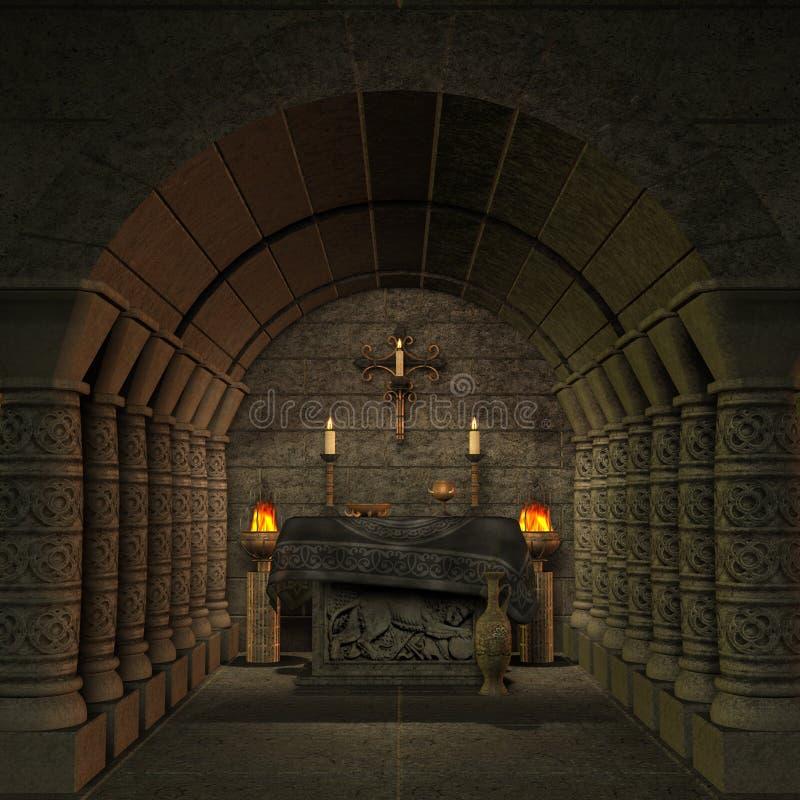 Archaïsch altaar of heiligdom in fantasie het plaatsen royalty-vrije illustratie