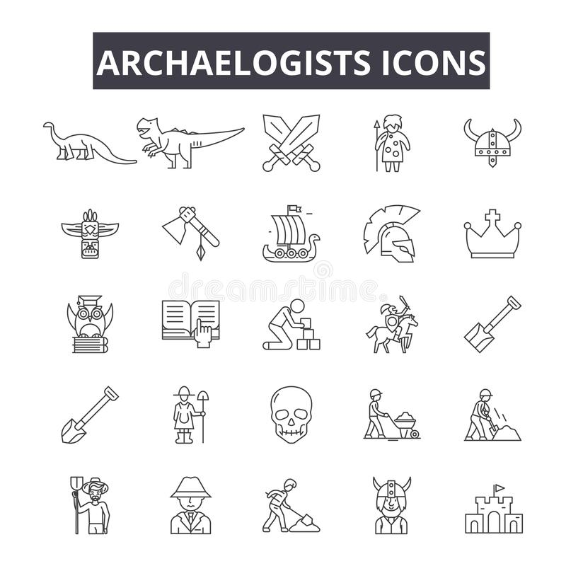 Archaelogists line icons for web and mobile design. Editable stroke signs. Archaelogists  outline concept illustrations vector illustration