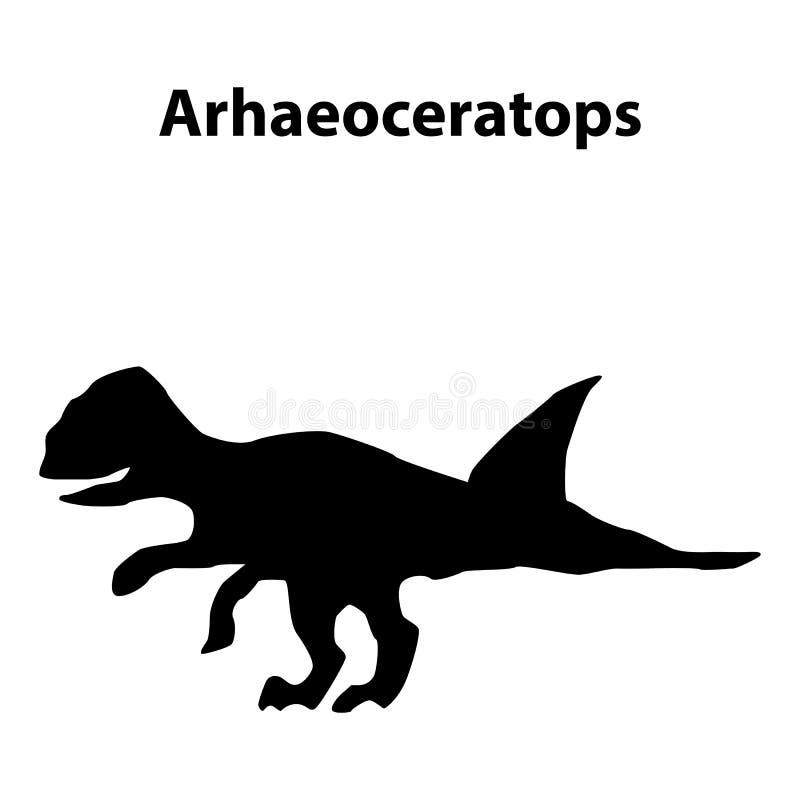 Archaeoceratops dinosauriekontur vektor illustrationer