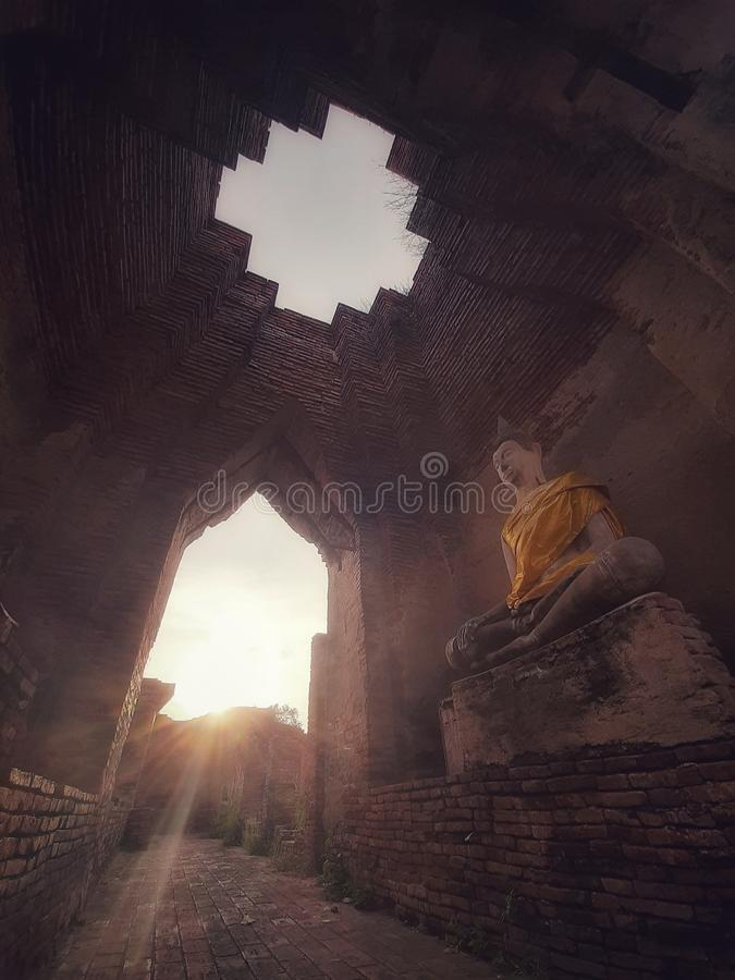 Archaeological. Ancient, buddha, ayutthaya, thailand royalty free stock image