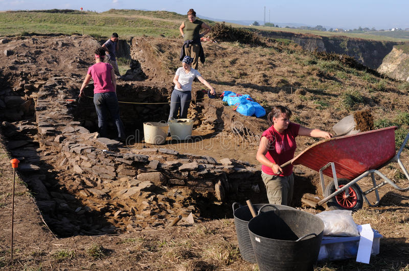 Archaeological excavation . Asturias stock images