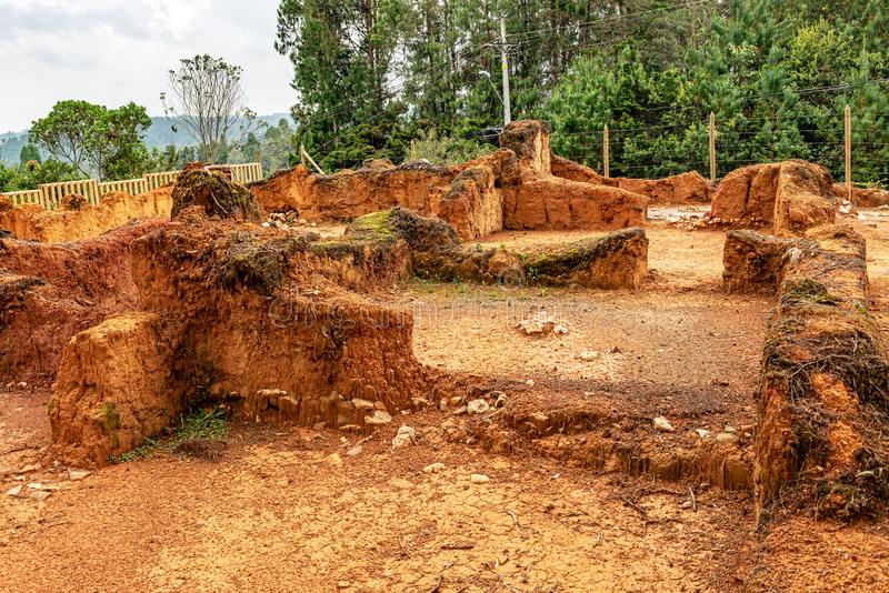 Early Spanish settlements site in Medellin, Colombia. Archaeological excavation on early Spanish settlements site in Medellin, Colombia stock image
