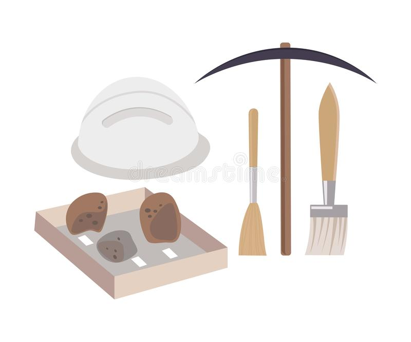 Archaeological Excavation Tools and Prehistoric Fossils, Pickaxe, Brush, Ceramic Crocks Flat Vector Illustration royalty free illustration