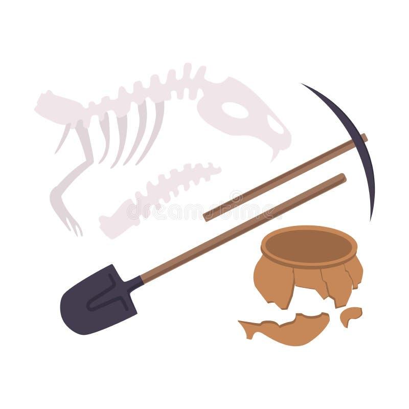 Archaeological Excavation Tools and Prehistoric Fossils, Pickaxe, Shove, Animal Skeleton, Ceramic Crocks Flat Vector. Illustration on White Background stock illustration