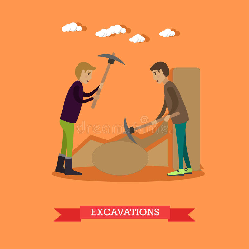 Archaeological excavations concept vector illustration in flat style. Vector illustration of archaeologists working at archaeological site. Excavations concept royalty free illustration