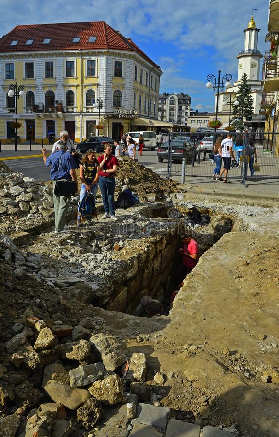 Archaeological excavations in the historic part of the old city stock photos