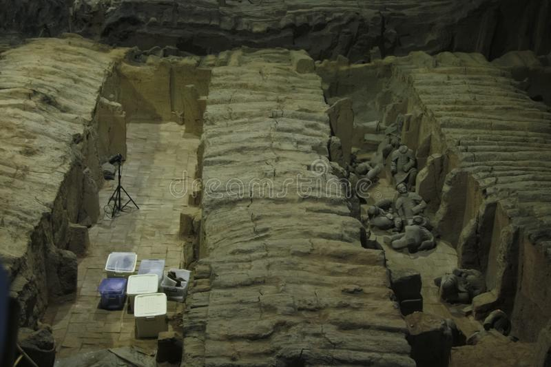 Archaeological excavations The terracotta army. Archaeological excavations. China, Xi`an: Archaeological excavations of the clay army of the emperor Qin Shi royalty free stock photo