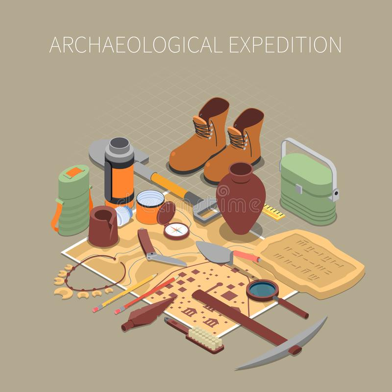 Archaeological Expedition Concept. With ancient remains and artifacts symbols isometric vector illustration royalty free illustration