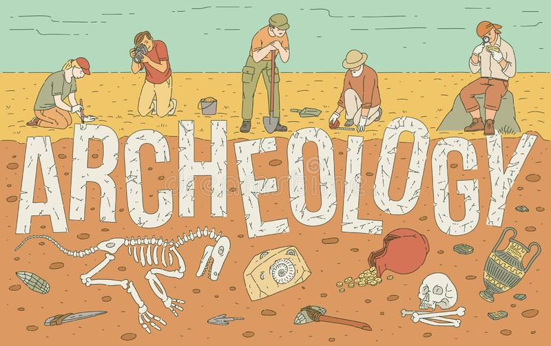 Archaeological exploration of historical artifacts vector illustration. royalty free illustration
