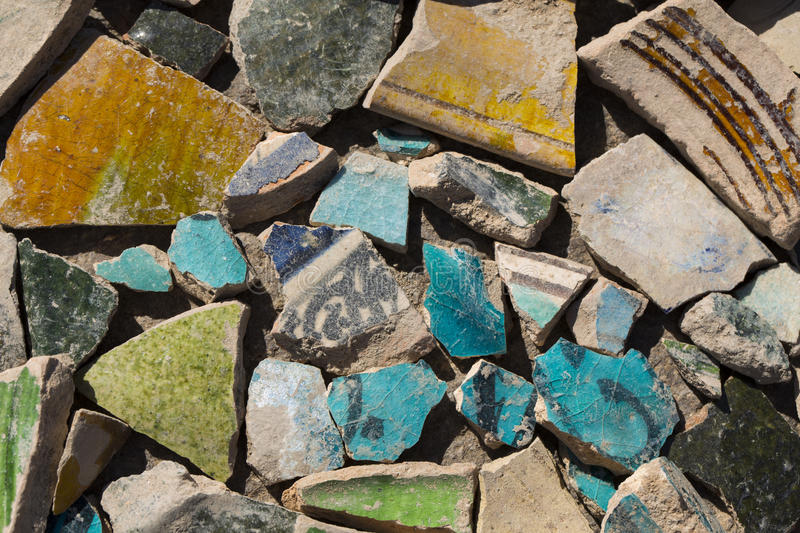 Archaeological finds - shards of ancient pottery stock photos