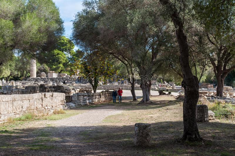archaeological greece olympialokal royaltyfri fotografi