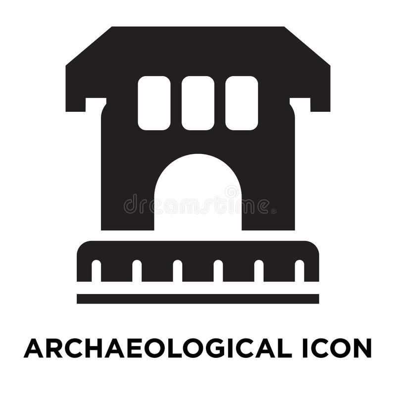 Archaeological icon vector isolated on white background, logo co. Ncept of Archaeological sign on transparent background, filled black symbol stock illustration