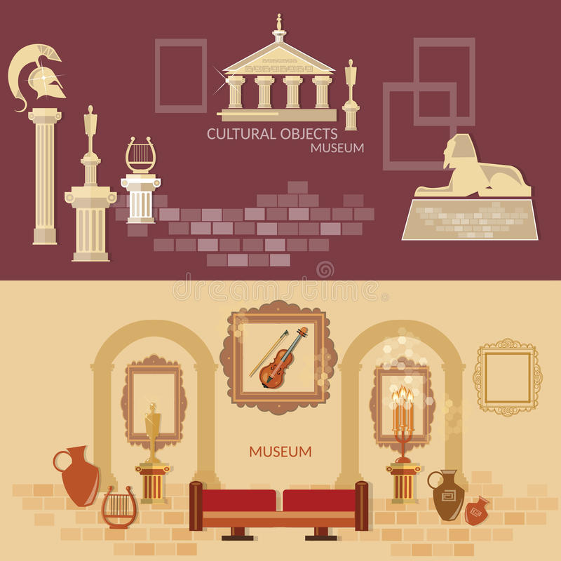 Archaeological museum of antiquity ancient civilizations science. Exposition flat banners stock illustration