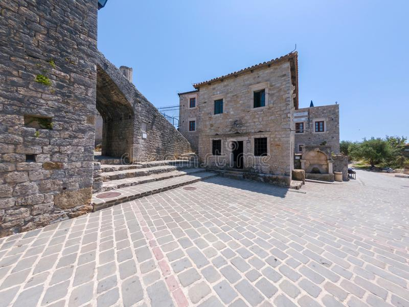 Archaeological museum in historical buildings of Ulcinj old town, Montenegro. stock photos