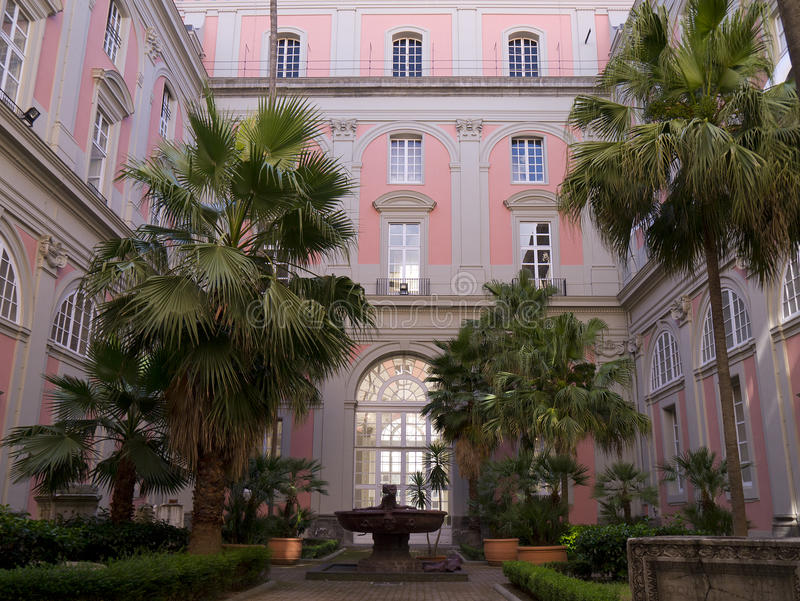 The Archaeological Museum in Naples Italy. Interior Courtyard of the Archaeological Museum in Naples Italy stock images