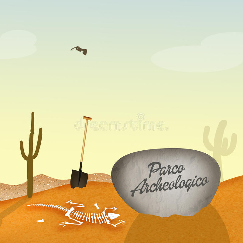 Archaeological park. Cute illustration of archaeological park stock illustration