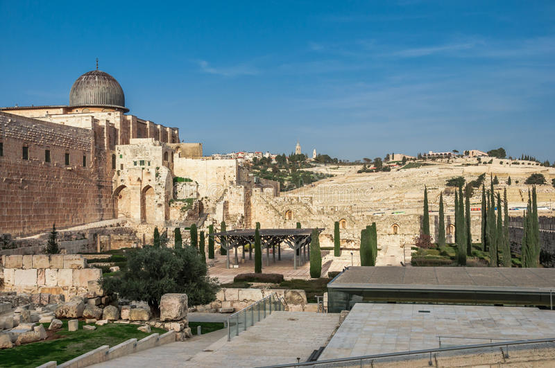 Archaeological park near the walls of Jerusalem, Israel with Al Aqsa Mosque and the jeus graveyard in the backfround stock photo