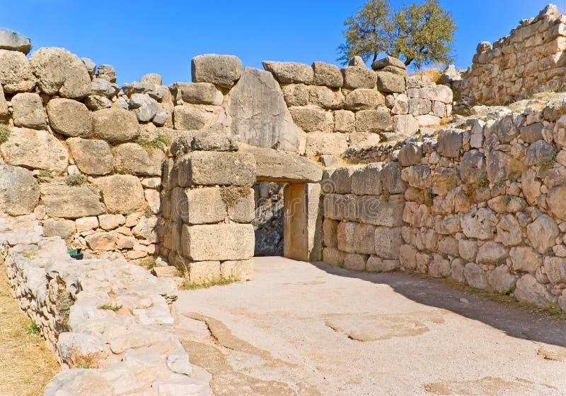 archaeological peloponnese för mycenae för portgreece lion lokal royaltyfri fotografi