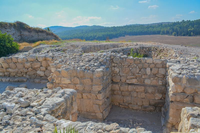 Archaeological remains in Tel Megiddo National Park, World Heritage Site. At Jezebel Valley, Northern Israel.  stock images