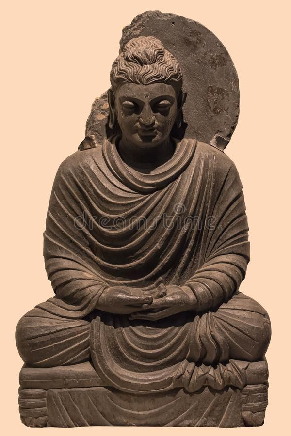 Archaeological sculpture of Buddha in meditation from Indian mythology stock photos
