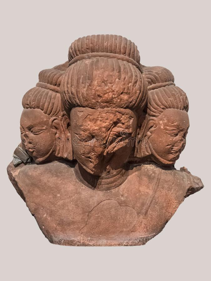 Archaeological sculpture standing of Bust of Brahma, The creator from Indian mythology stock photography